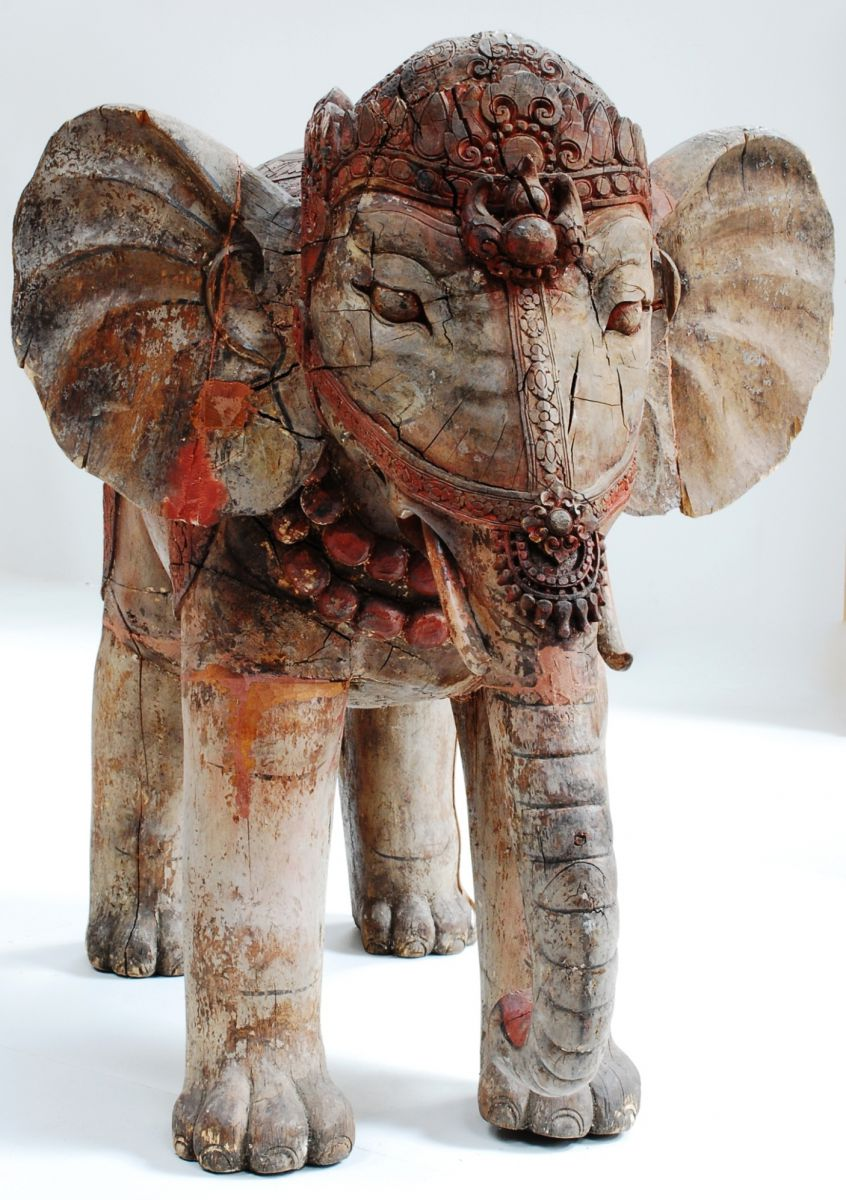 A 19c Large Indian Carved Wooden Elephant Stock