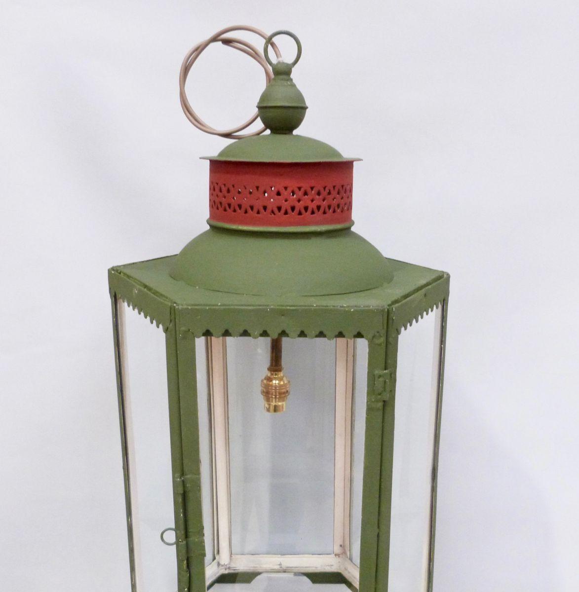 An Hexagonal Green Lantern With Red Collar Stock