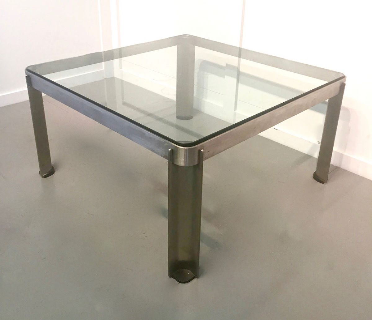 Thick Square Black Stone Top Coffee Table With Short Black: A 20C Italian Square Steel Coffee Table