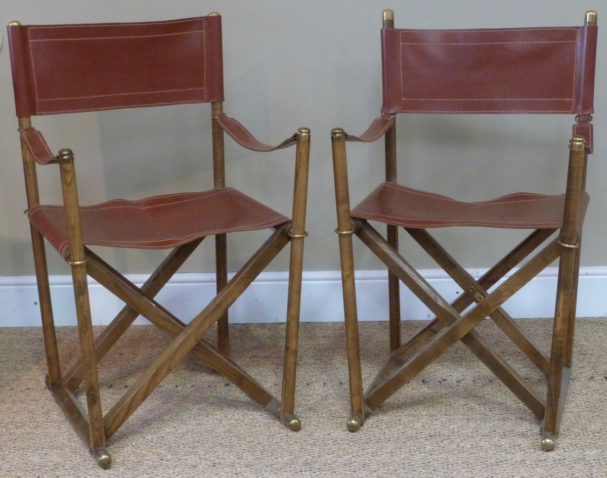 A Pair Of 20C Leather Directoru0027s Chairs