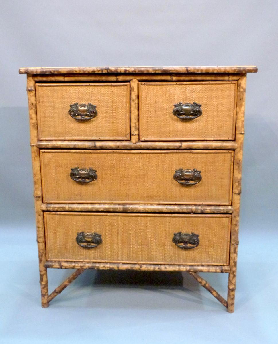an edwardian bamboo and wicker chest of drawers stock blanchard collective antiques. Black Bedroom Furniture Sets. Home Design Ideas