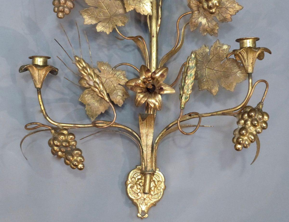 Floral Metal Wall Sconces : PAIR OF GILT METAL FLOWER CANDLE WALL SCONCES - Stock - Blanchard Collective Antiques, Marlborough