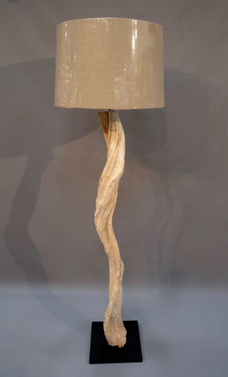 thentique products driftwood othentique round beige large natural shade floor rousilique o linen handmade lamp
