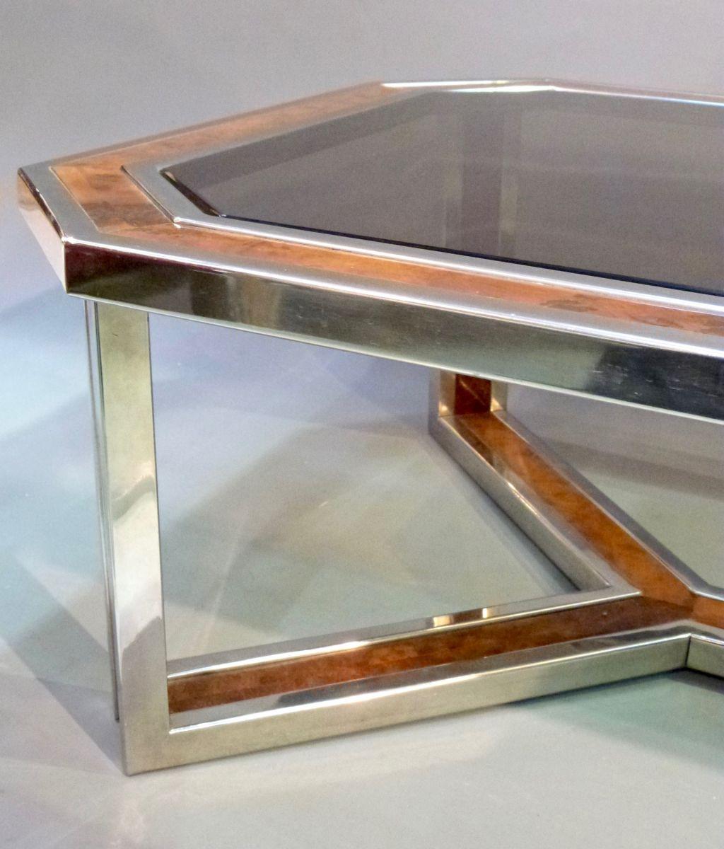 Linus 79cm White Marble Coffee Table: A 20C ITALIAN CHROME & WALNUT COFFEE TABLE