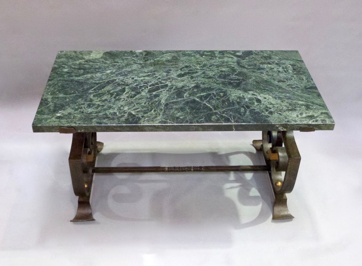 A french wrought iron and marble coffee table stock for Marble and wrought iron coffee table