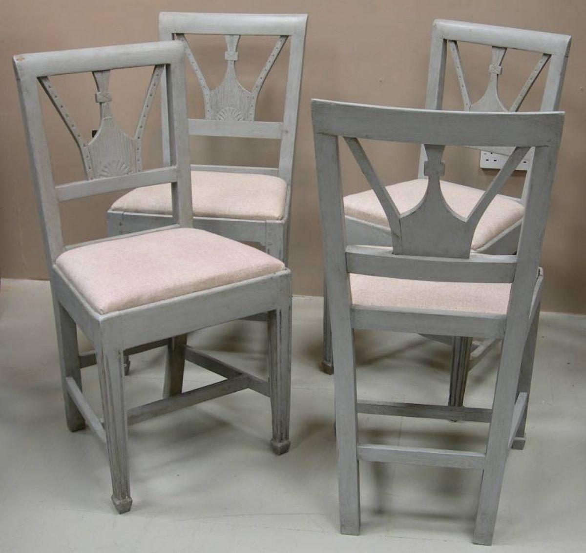 Marlborough Dining Set: A Set Of 7 Danish Painted Dining Chairs