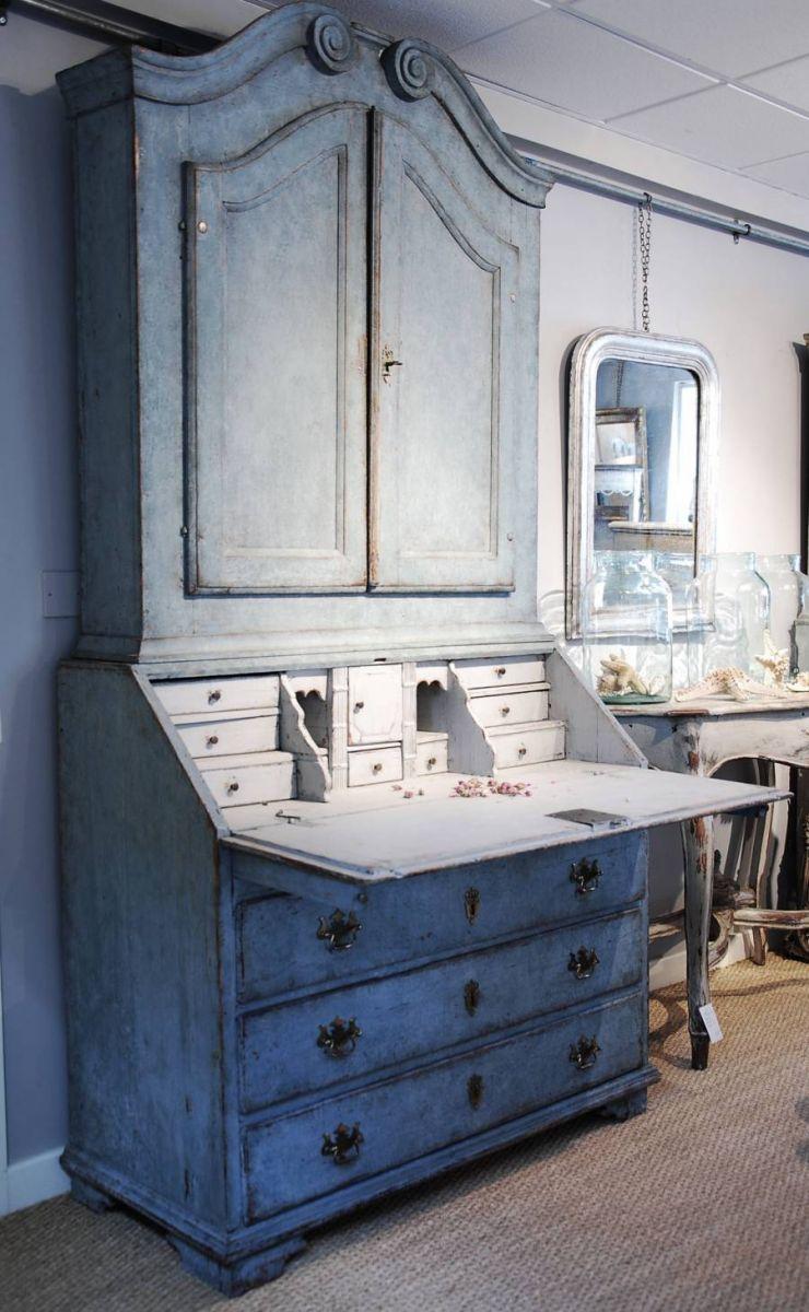 Swedish Blue Painted Bureau Bookcase Stock Blanchard