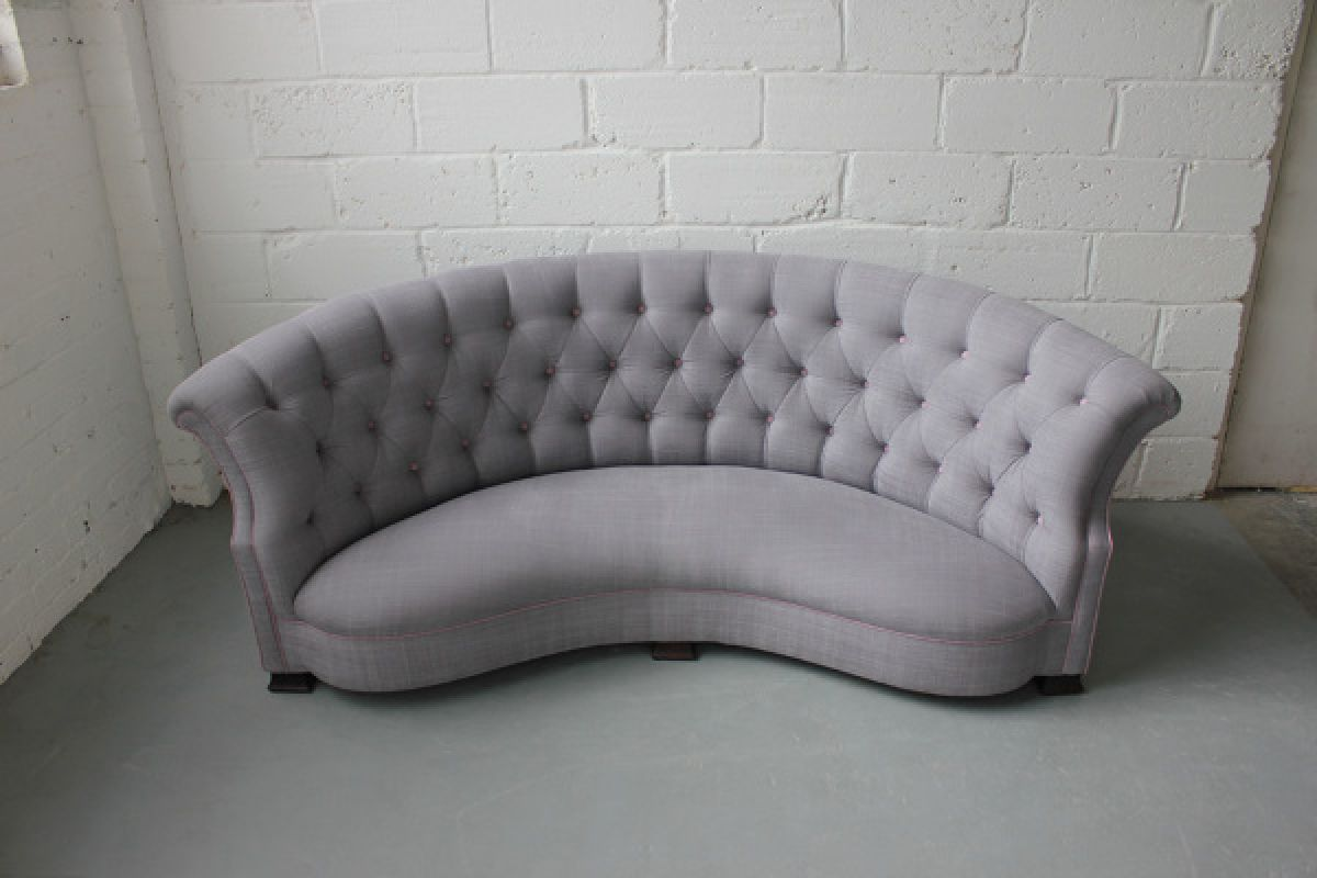 An english curved button backed sofa stock blanchard - Corner sofa in bay window ...