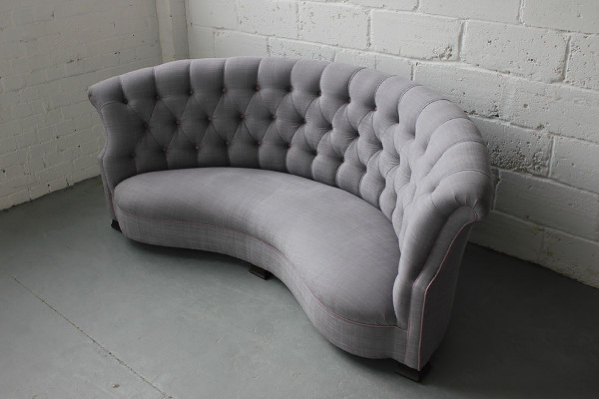 An English Curved Button Backed Sofa Stock Blanchard Collective